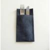 Kép 1/2 - Textilhatású 1/8 hajtású evőeszköztartós szalvéta 40x32 cm Gama Hilo - fekete