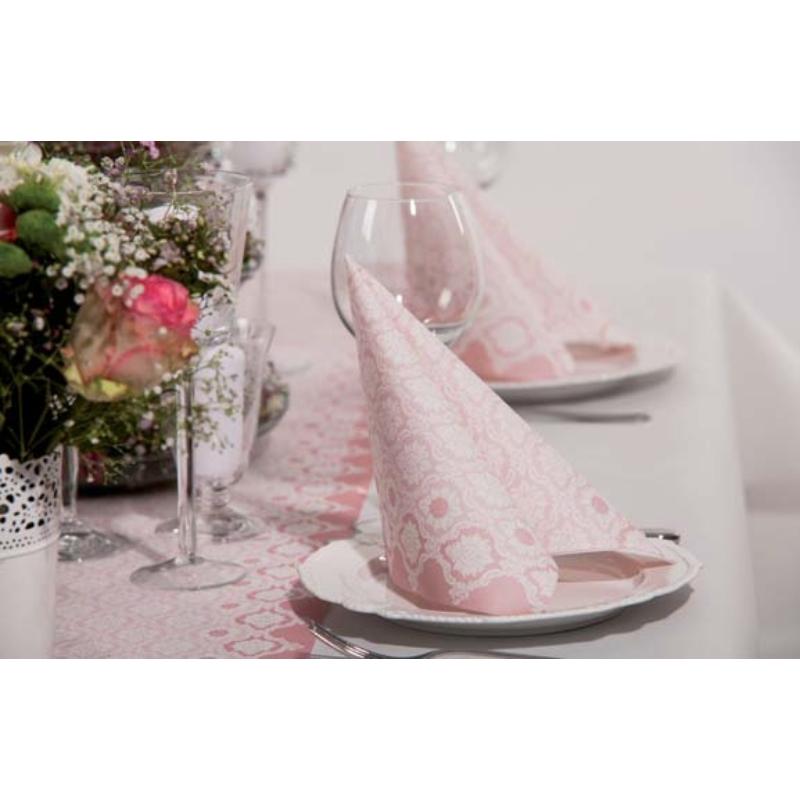 Asztali futó 40 cm x 24 m textilhatású Mandy - púderrózsa