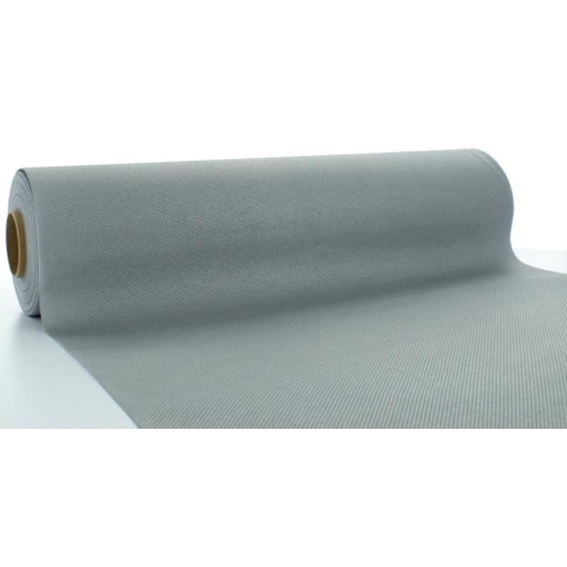 Asztali futó 40 cm x 24 m textilhatású - ezüst