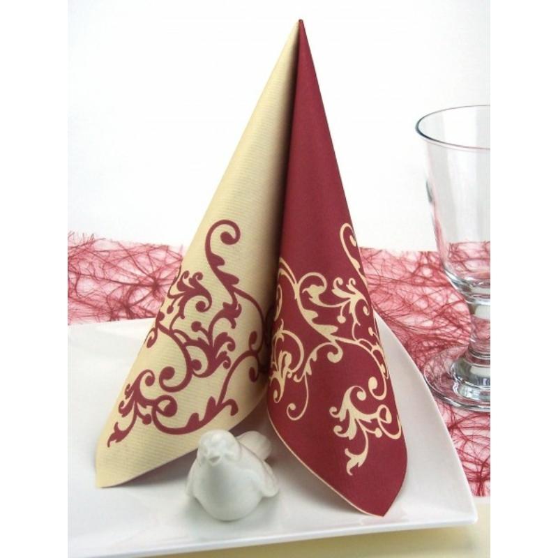 Textilhatású szalvéta 40x40 cm Pomp - bordó/krém