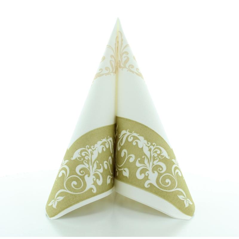 Textilhatású szalvéta 40x40 cm Esküvői - arany/fehér