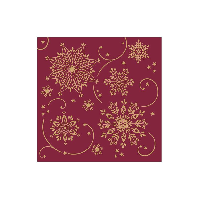 Karácsonyi textilhatású szalvéta 40x40 Cristal - bordó