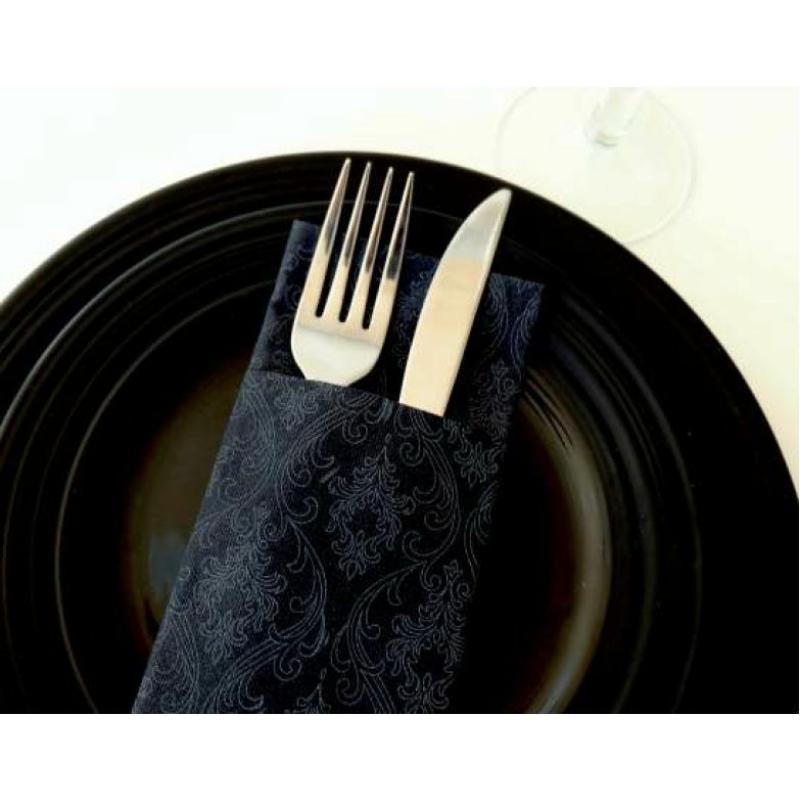 Textilhatású 1/8 hajtású evőeszköztartós szalvéta 40x32 cm Gama Damasco - fekete