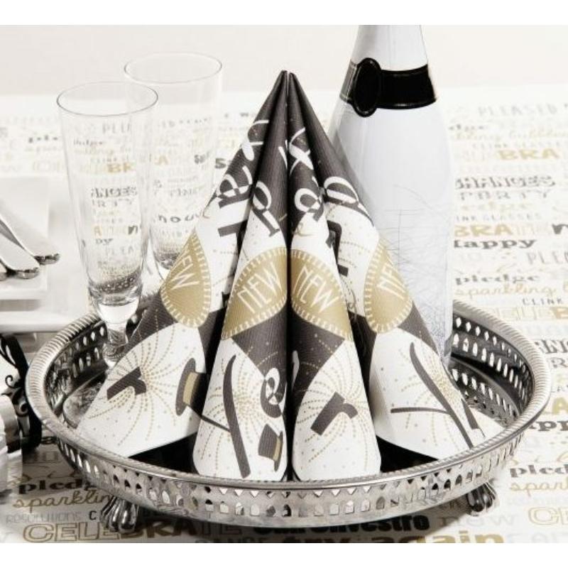 Textilhatású Szilveszteri szalvéta 40x40 cm New Year - fekete