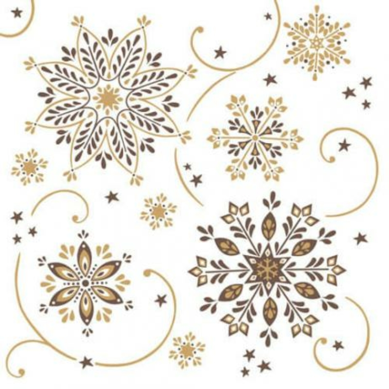 Karácsonyi tissue szalvéta 3 rétegű 40x40 cm Cristal - barna/arany
