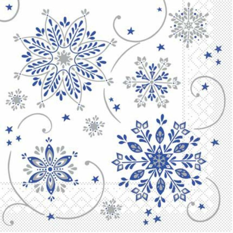 Karácsonyi tissue szalvéta 3 rétegű 40x40 cm Cristal - kék/ezüst
