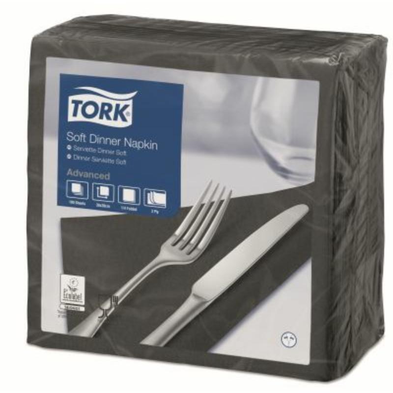 Tissue szalvéta 3 rétegű 39x39 cm Tork fekete