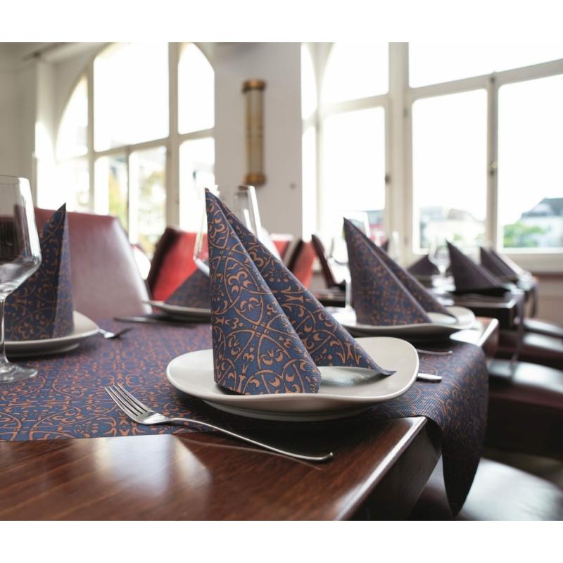 Asztali futó 40 cm x 24 m textilhatású Claudio - sötétkék/barna