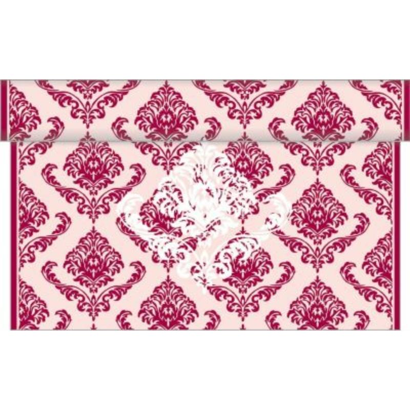 Asztali futó 40 cm x 4,8 m textilhatású Georgio bordó