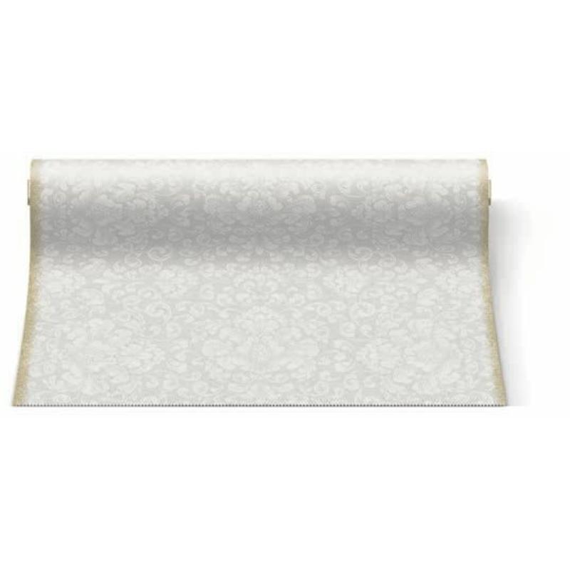 Asztali futó 40 cm x 24 m textilhatású Rococo - fehér
