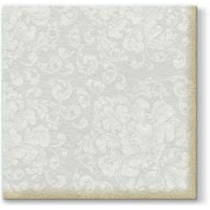 Textilhatású szalvéta 40x40 cm Rococo - fehér
