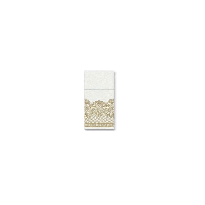 Textilhatású 1/8 hajtású evőeszköztartós szalvéta Royal Lace - arany