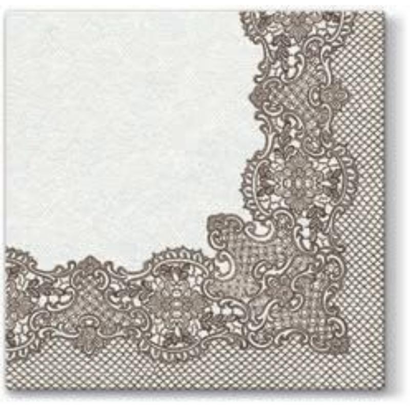Textilhatású szalvéta 40x40 cm Royal Lace - barna