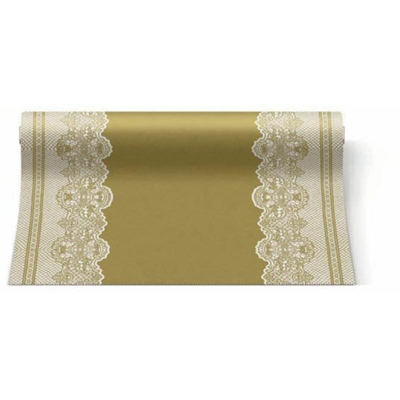 Asztali futó 40 cm x 24 m textilhatású Royal Lace - arany