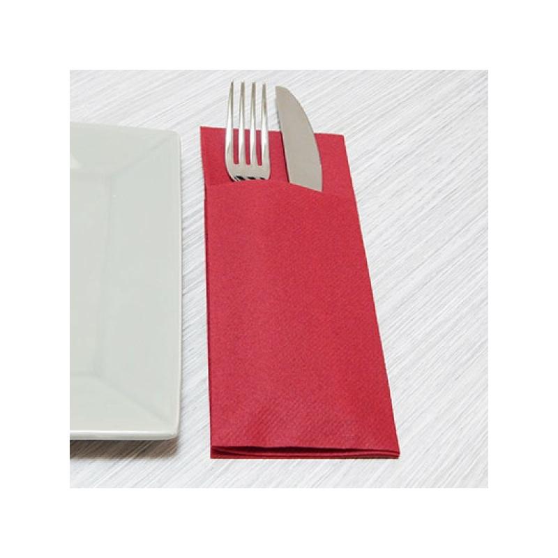 Textilhatású szalvéta 1/8 hajtású evőeszköztartós 40x32 cm - bordó