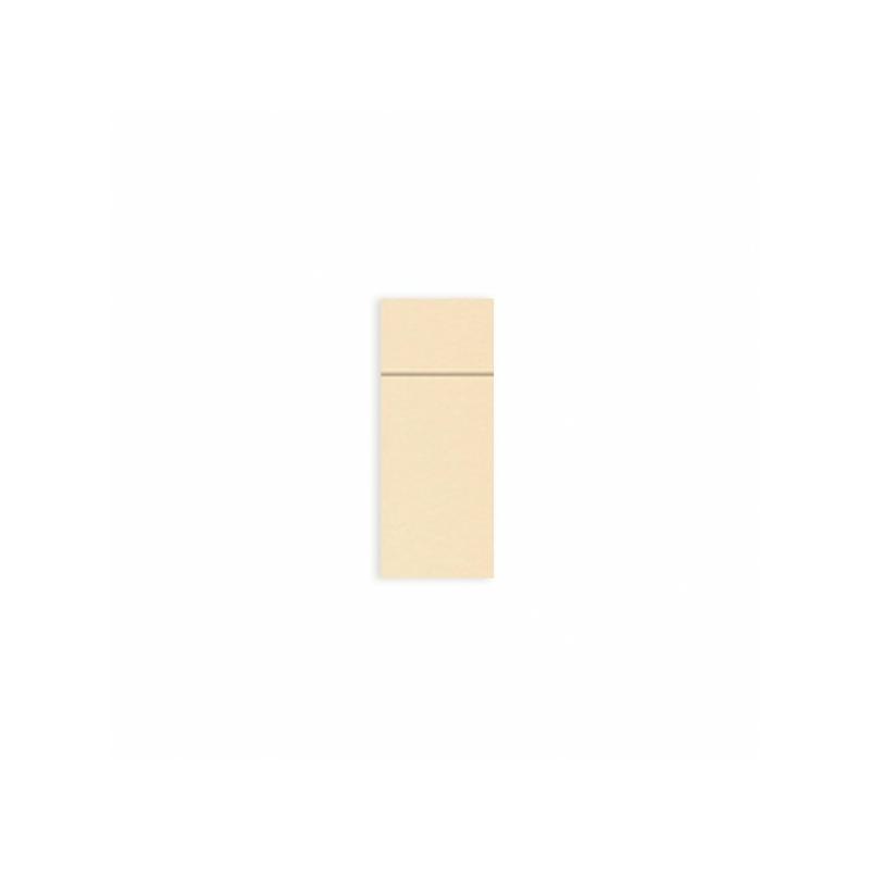 Textilhatású szalvéta 1/8 hajtású evőeszköztartós 40x32 cm - karamell