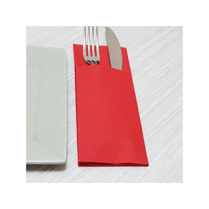 Textilhatású szalvéta 1/8 hajtású evőeszköztartós 40x32 cm - piros