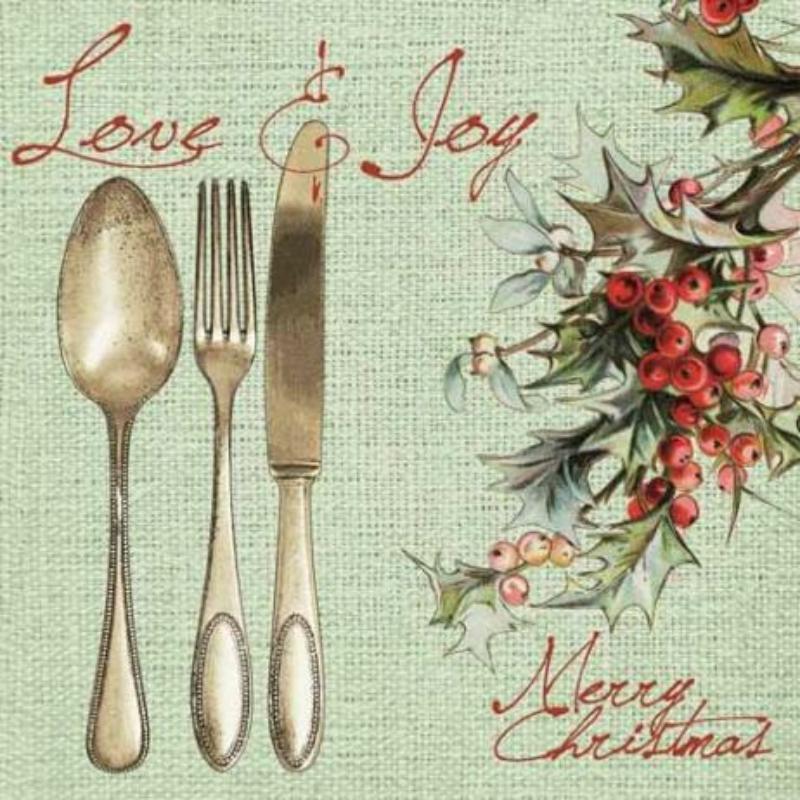 Textilhatású szalvéta 40x40 cm Love & Joy - zöld
