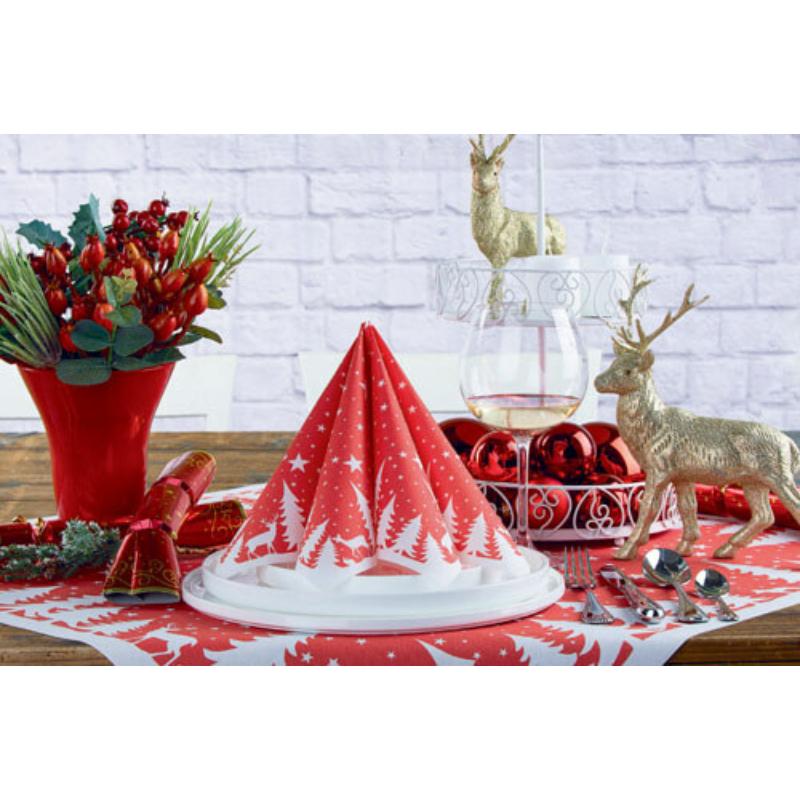 Textilhatású szalvéta 40x40 cm Lennert - piros/fehér