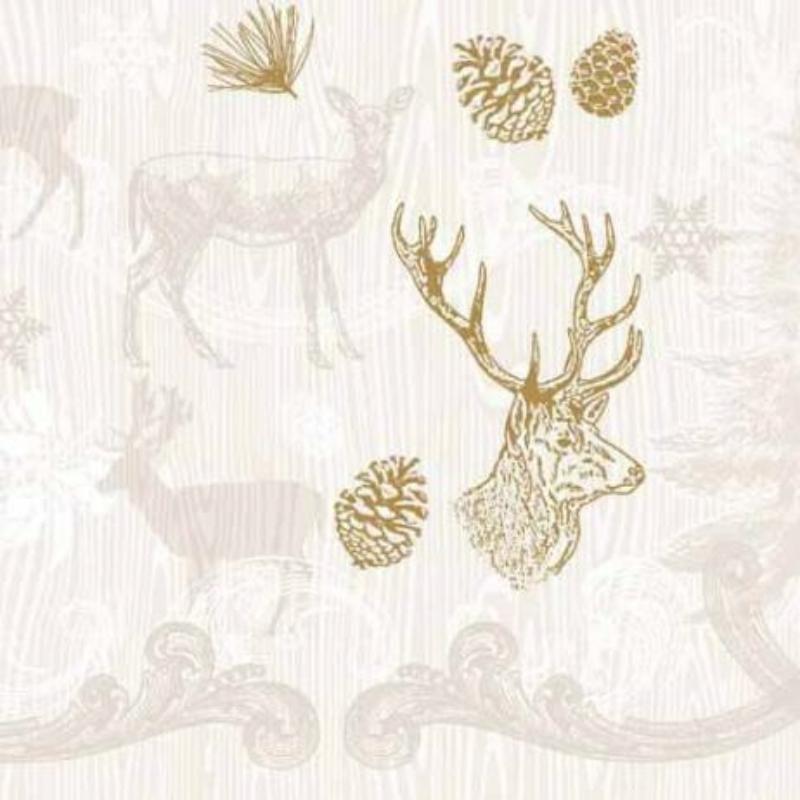 Textilhatású szalvéta 40x40 cm Bruno - barna/arany