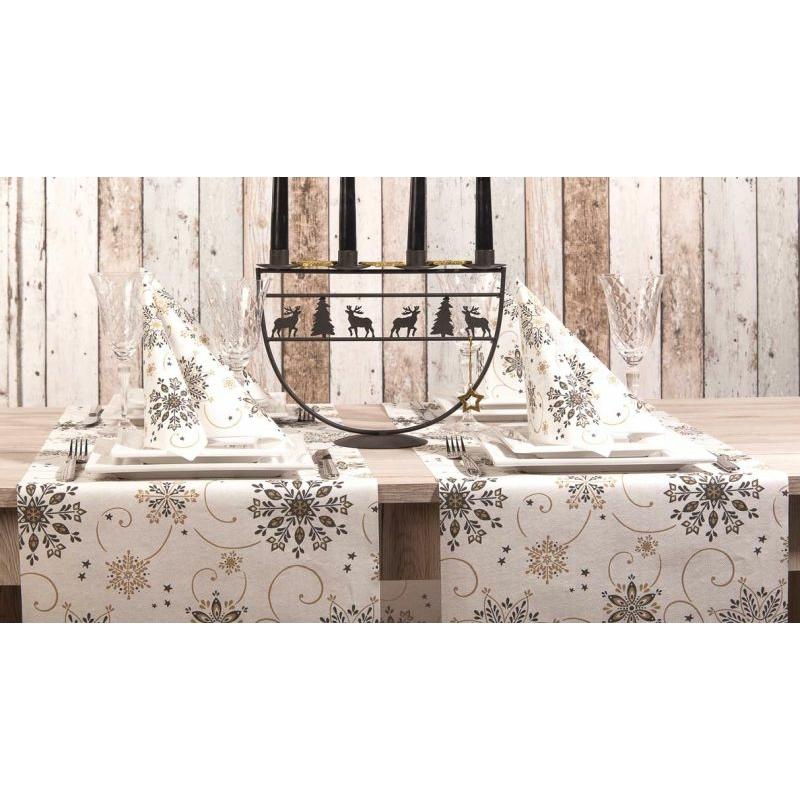 Karácsonyi textilhatású szalvéta 40x40 Cristal - fekete/arany