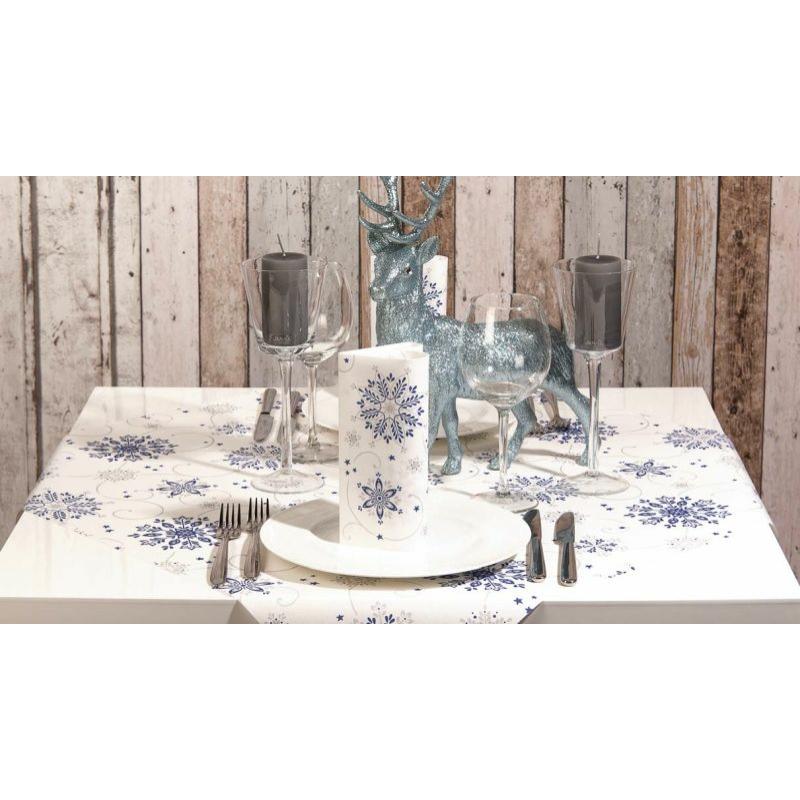 Karácsonyi textilhatású szalvéta 40x40 Cristal - kék/ezüst