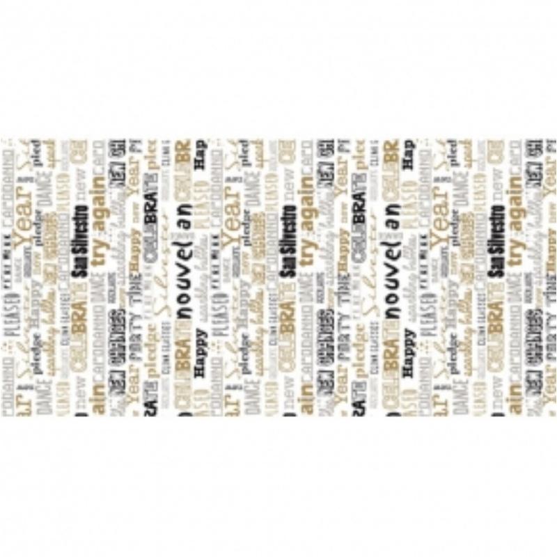 Futó 40 cm x 24 m textilhatású San silvestro ezüst/fekete/arany
