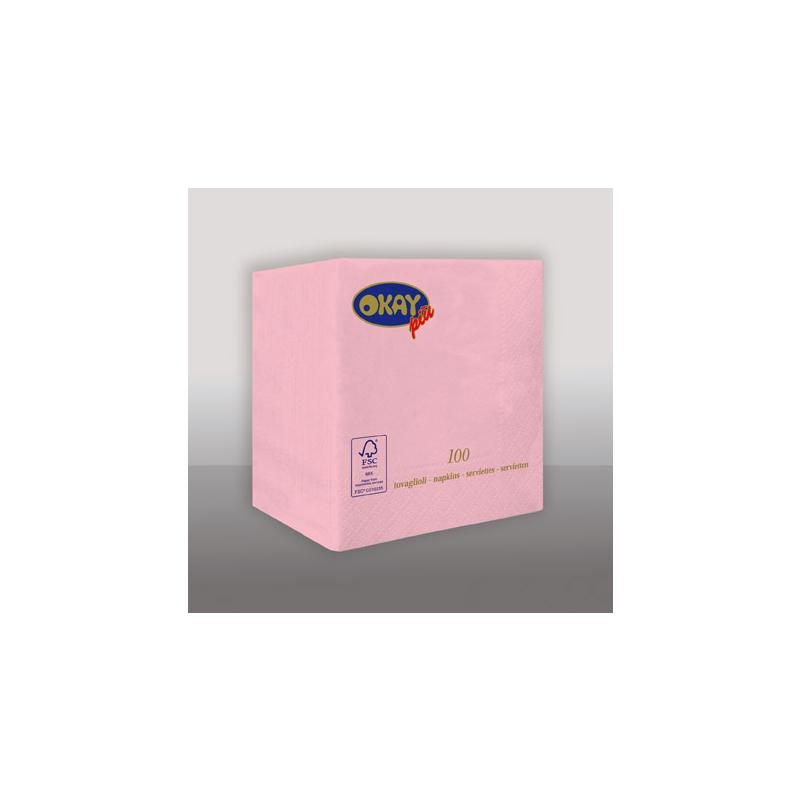 Koktélszalvéta 25x25 cm - világos rózsaszín