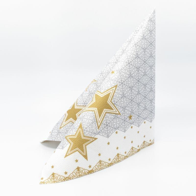 Karácsonyi textilhatású szalvéta 40x40 cm Vivien - szürke/arany - 95215