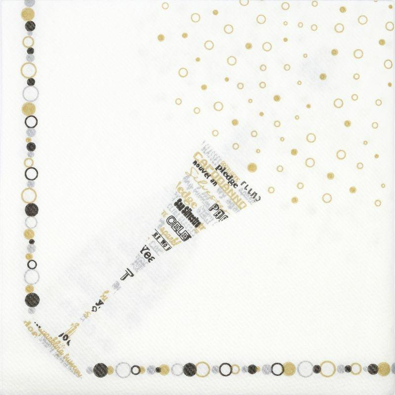 Textilhatású szalvéta 40x40 cm San silvestro ezüst/fekete/arany - 89015