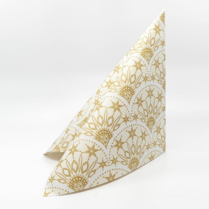 Karácsonyi textilhatású szalvéta 40x40 cm Saphira - krém/arany - 95032