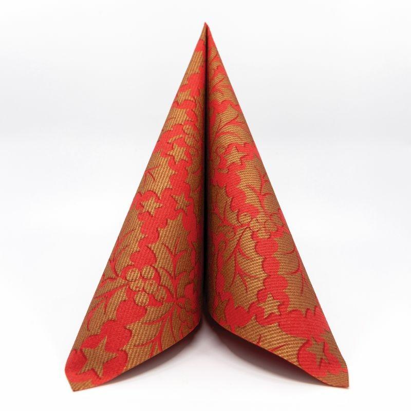 Textilhatású szalvéta 40x40 cm Michael - piros/arany - 89012