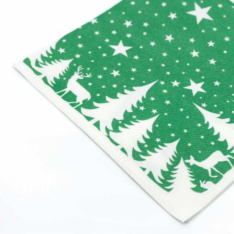 Textilhatású szalvéta 40x40 cm Lennert - zöld/fehér - 92064