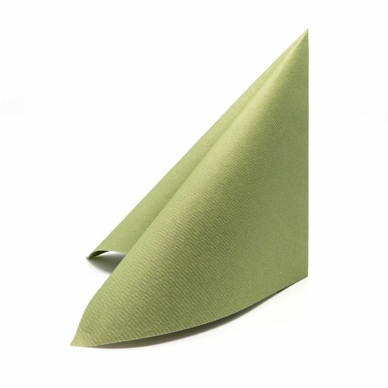 Textilhatású szalvéta 40x40 cm - oliva zöld