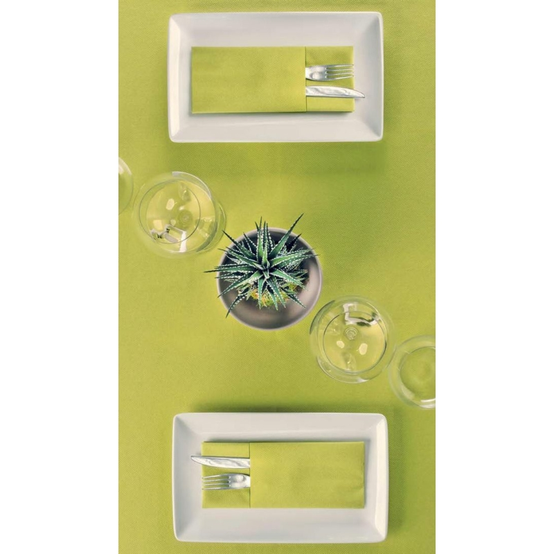 Textilhatású szalvéta 1/8 hajtású evőeszköztartós 40x32 cm – oliva - p4032t-046