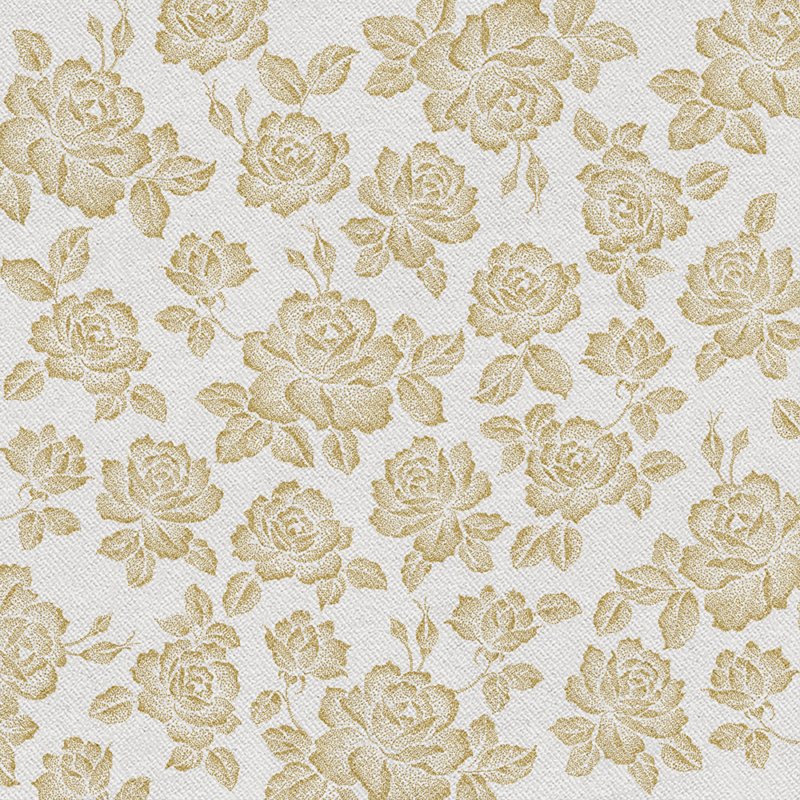 Textilhatású szalvéta 40x40 cm Roses - arany - aan004709