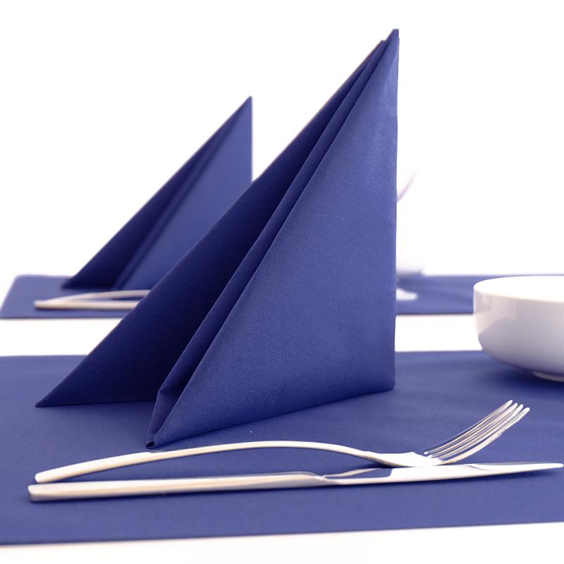 Textilhatású szalvéta 40x40 cm egyszínű kék