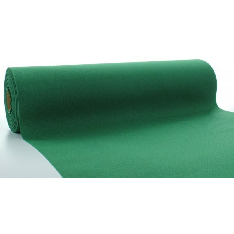 Asztali futó 40 cm x 24 m textilhatású - sötétzöld