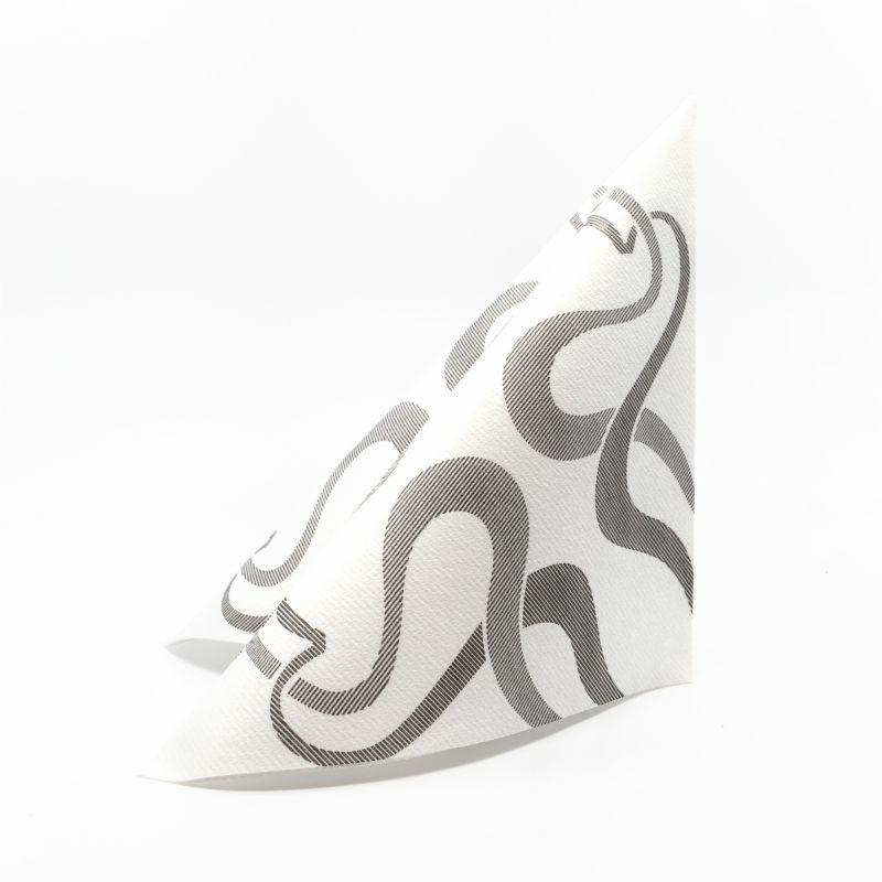 Textilhatású szalvéta 40x40 cm Vintage - fehér/fekete - 40ablvne