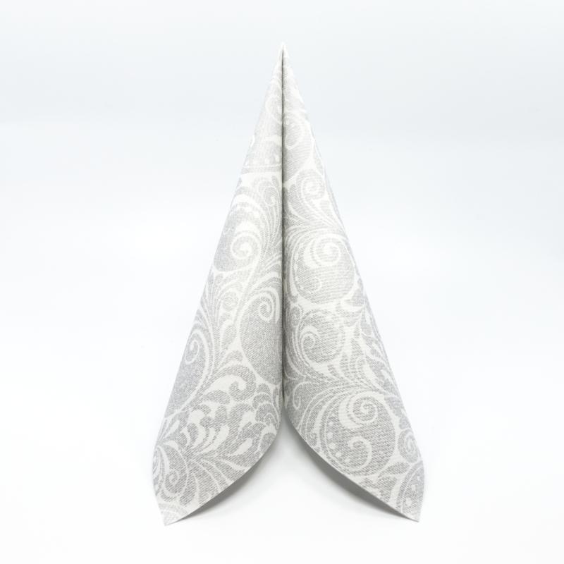 Textilhatású szalvéta 40x40 cm Jordan – ezüst