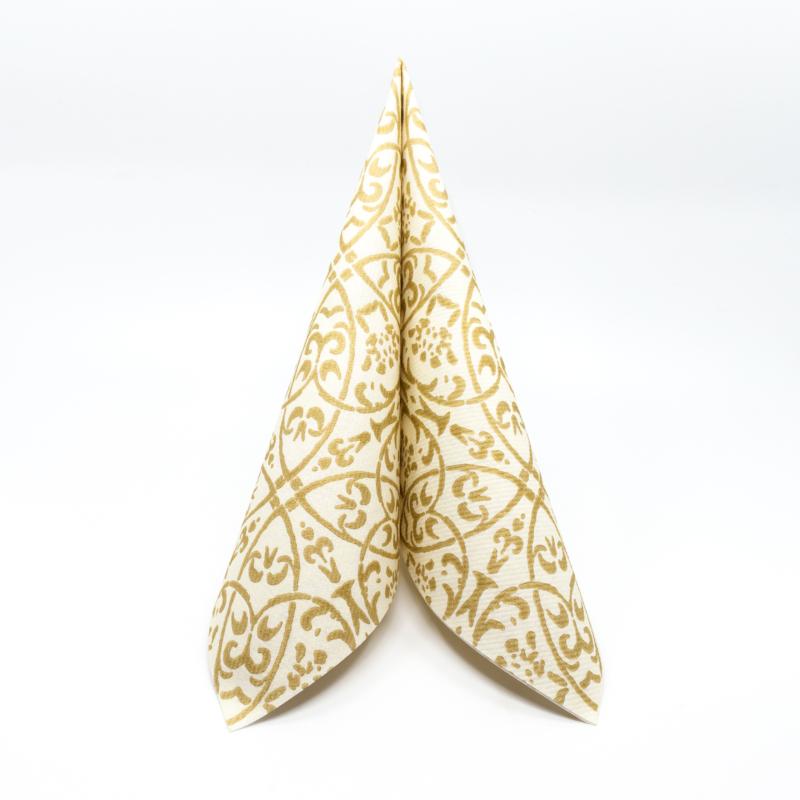 Textilhatású szalvéta 40x40 cm Claudio - pezsgő/arany - 86741