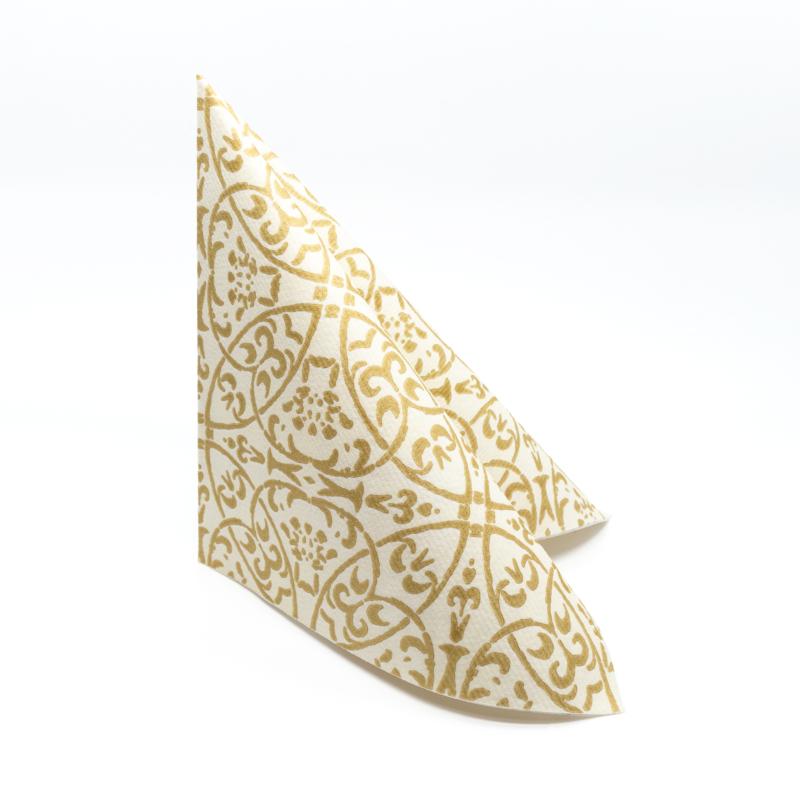 Textilhatású szalvéta 40x40 cm Claudio - pezsgőarany - 86741
