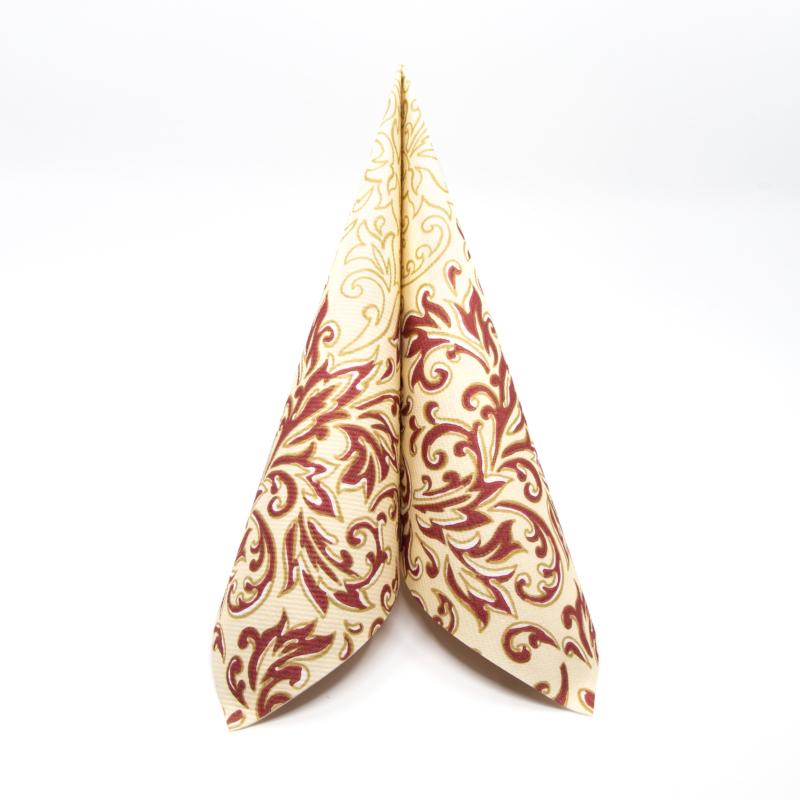 Textilhatású szalvéta 40x40 cm Delia - bordó/krém - 88309