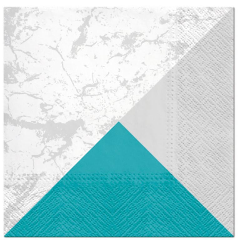 MARBLE STYLE papírszalvéta 33x33 cm 3 rétegű ezüst/türkiz
