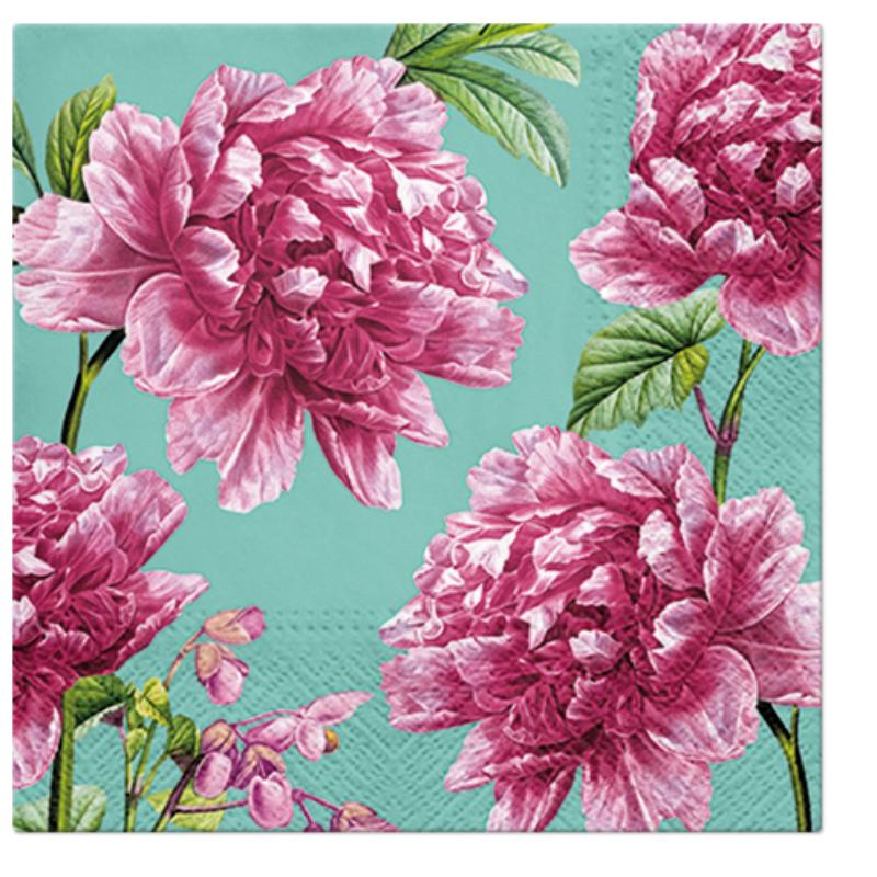 BEAUTIFUL PEONIES papírszalvéta 33x33 cm 3 rétegű rózsa