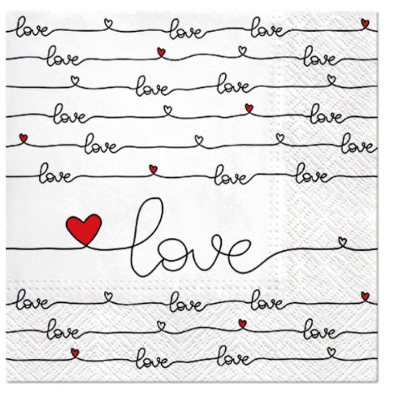 LOVE CONNECTION papírszalvéta 33x33 cm 3 rétegű fehér