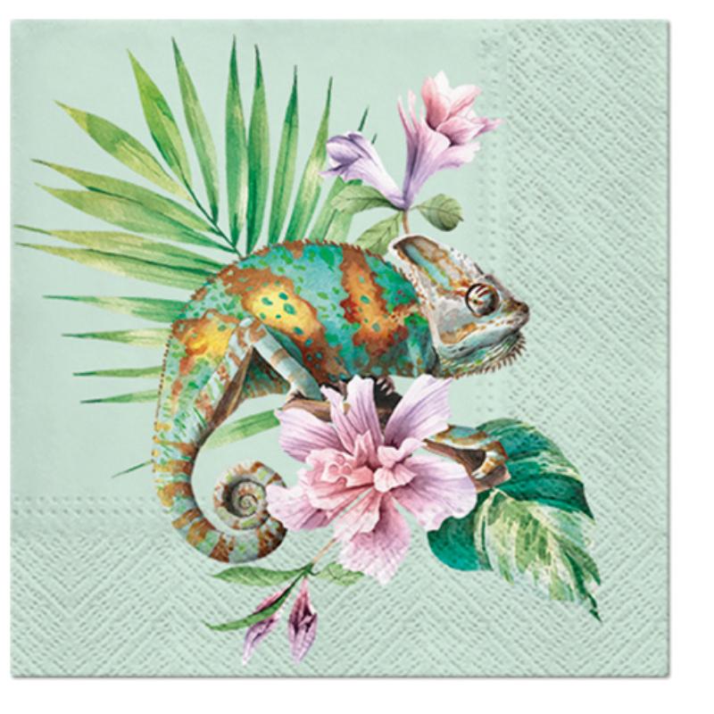Exotic Chameleon papírszalvéta 33x33 cm 3 rétegű mintás zöld