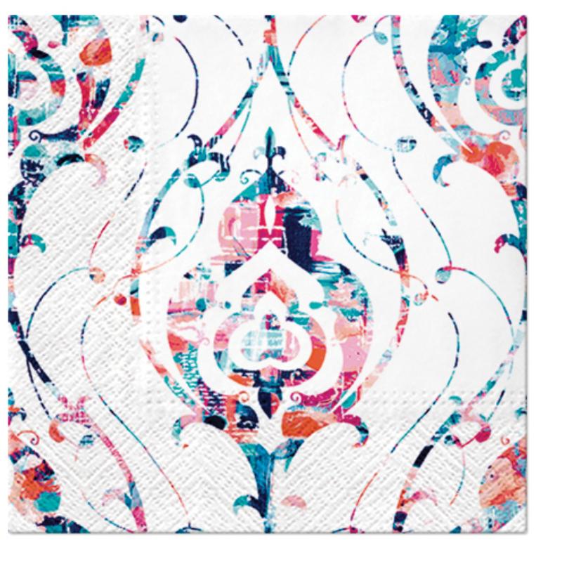 TIE-DYE ORNAMENT papírszalvéta 33x33 cm 3 rétegű fehér/színes
