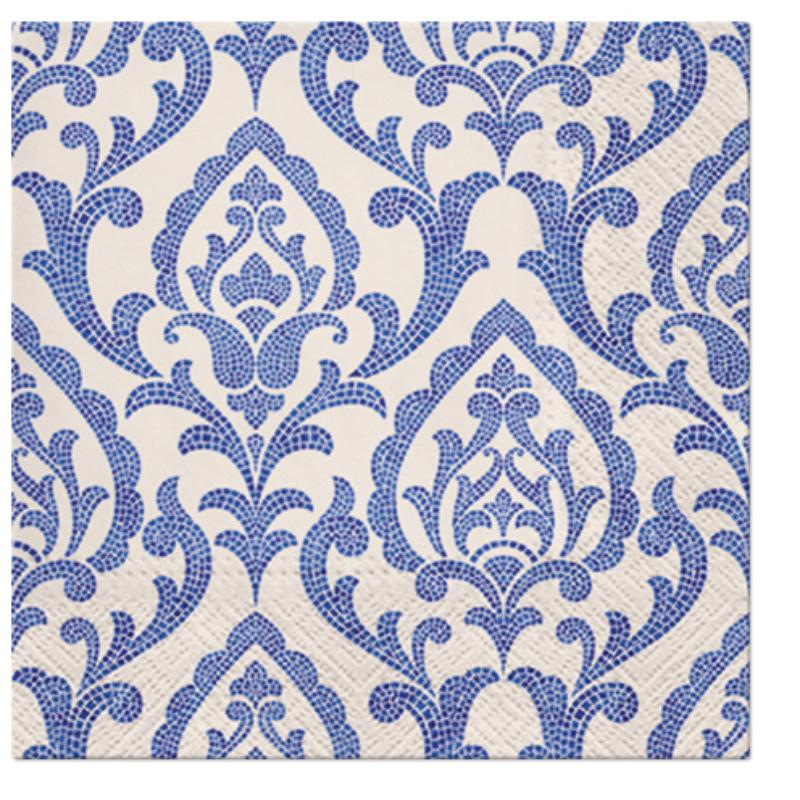 PORTUGUESE TILES papírszalvéta 33x33 cm 3 rétegű fehér/kék