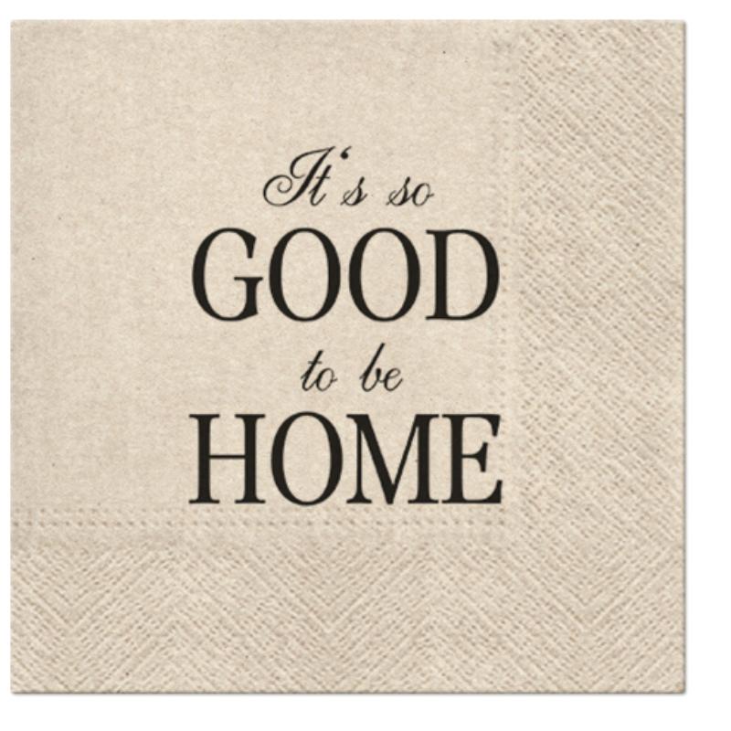 WE CARE GOOD TO BE HOME papírszalvéta 33x33 cm 3 rétegű natúr barna